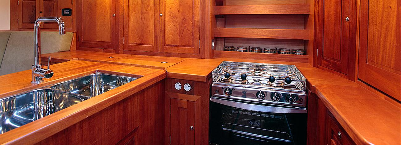 Spirit DH60 | Interior Galley | Wooden Yacht